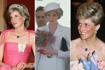 Diana made sapphires her signature, including on visits to Australia in (from left) 1983, 1985 and 1988.