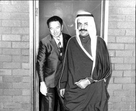 Sheikh Khalifa bin Salman Al-Khalifa is met by minister  Mr W Haigh on arrival in Sydney on a state visit in 1976.