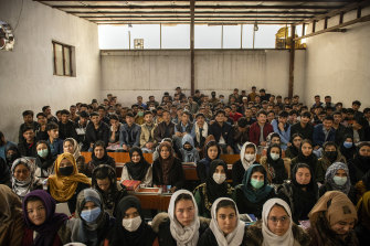 Students at Mawoud Academy in Kabul, Afghanistan, on March 10, 2021.