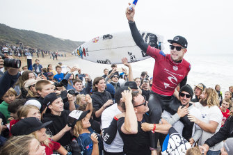 World Champion Mick Fanning celebrates his retirement at Bells Beach in 2018.
