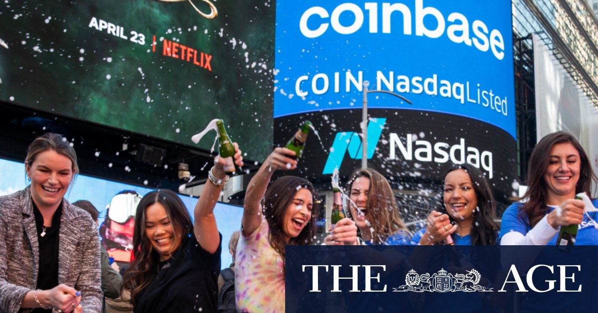Coinbase soars in landmark Wall Street debut, valued near $US100 billion