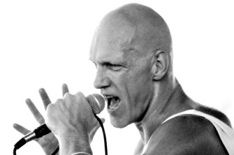 Midnight Oil's Peter Garrett, pictured during the Last 2JJ Concert at Sydney's Parramatta Park on January 18, 1981.