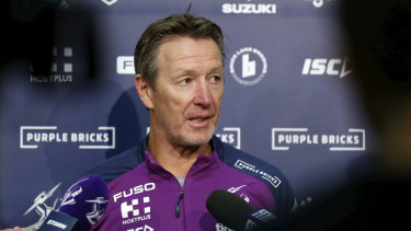 Craig Bellamy addresses the media on Monday following his former star halfback Cooper Cronk's retirement.