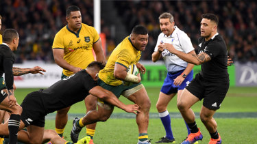 Tolu Latu in action against the All Blacks in Australia's 47-26 win in Perth.