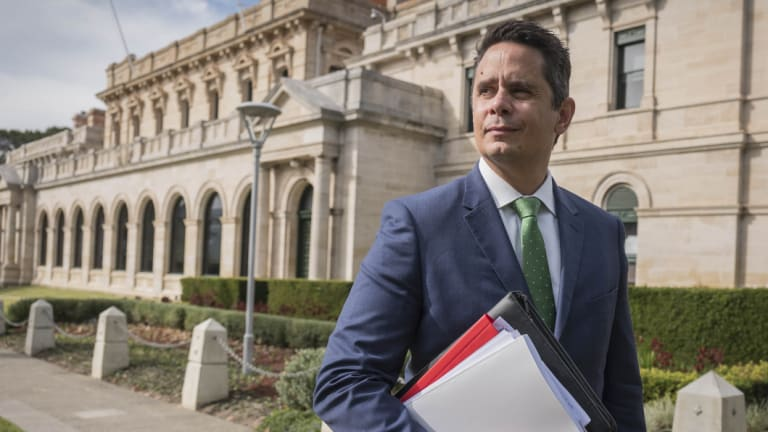 WA Treasurer Ben Wyatt makes his way to Parliament House to hand down the 2018-19 state budget.