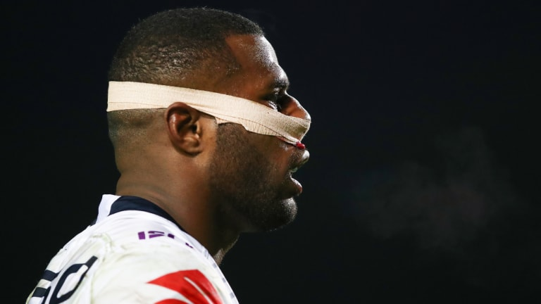 No excuses: Suliasi Vunivalu refused to come from the field despite a broken nose.