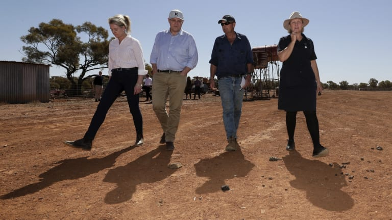 Bridget McKenzie and Scott Morrison join Stephen and Annabel Tully to see how the drought has affected their property in Quilpie, south-west Queensland on Monday.