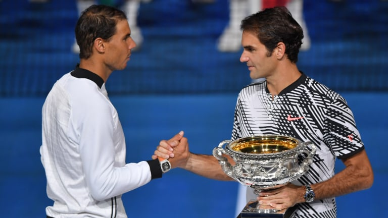 Long time at the top: Rafael Nadal and Roger Federer.