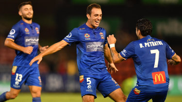 Too easy: Ben Kantarovski celebrates after exploiting indecision in the Sydney FC box to score from close range.