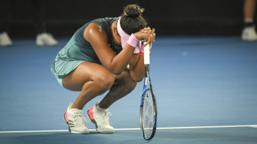 Relief: Osaka wins match point to claim her second grand slam title.