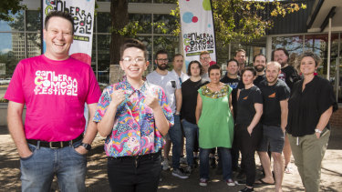 Canberra Comedy Festival organiser David Graham, comedian Maddy Weeks and other comedians are excited for the Canberra Comedy Festival.