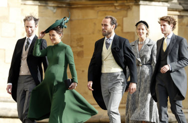 James and Pippa Matthews (left) attending the wedding of Princess Eugenie on Friday.