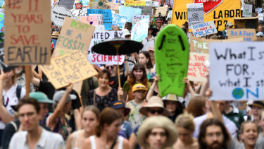 Thousands of school students took part in a climate change strike in Brisbane in March.