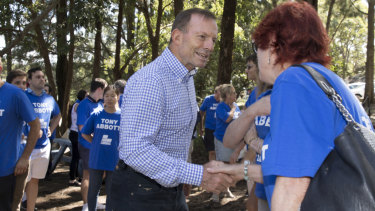 Former prime minister Tony Abbott meets supporters and volunteers in Manly ahead of a day campaigning.