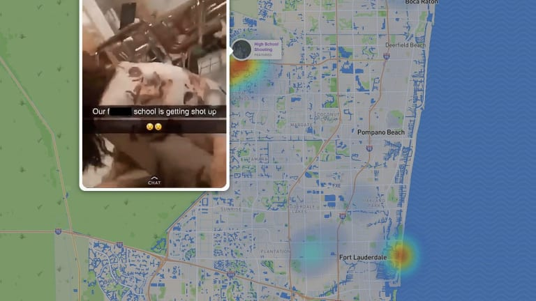 A screen shot of the Snap Map during the Florida school shooting.