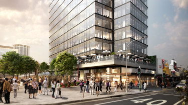 Renders of the One Hurstville Plaza office tower, Hurstville, Sydney