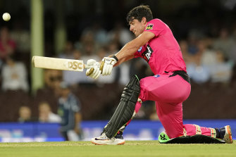 Moises Henriques blasts one of his eight sixes against the Melbourne Stars at the SCG on Monday night.