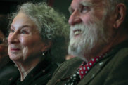 Margaret Atwood, centre, with her partner Graeme Gibson in 2017.