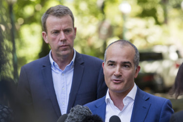 Victorain Education Minister James Merlino announcing the exemption with Federal Education Minister Dan Tehan on Saturday.