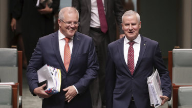 Prime Minister Scott Morrison and Deputy Prime Minister Michael McCormack entering Parliament for question time on Wednesday.