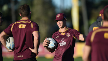 No worries: Kalyn Ponga training with the Maroons on the Gold Coast.
