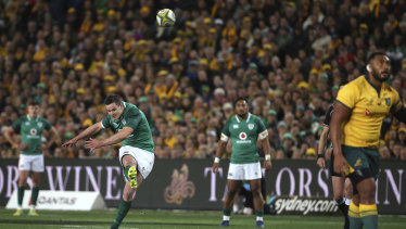 Johnny Sexton kicks a penalty against the Wallabies during their clash in 2018 at Allianz Stadium in front of 44,085 fans.