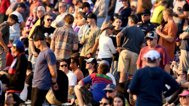 There wasn't much social distancing happening at Sunshine Coast Stadium on Sunday afternoon.