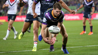 This try attempt from Storm's Curtis Scott against the Roosters was disallowed.