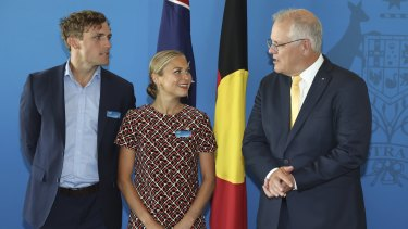 Australian of the Year Grace Tame and Prime Minister Scott Morrison during a morning tea on Monday before her win was announced.