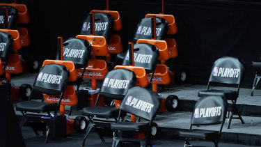 The Milwaukee Bucks bench remains.