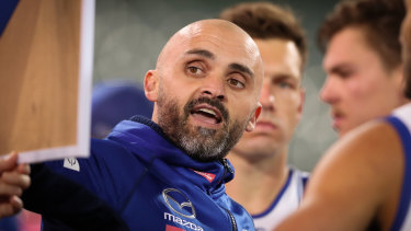 Caught on the hop: North Melbourne coach Rhyce Shaw.