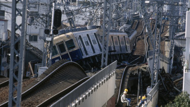 Railway tracks were twisted by the earthquake and trains derailed.