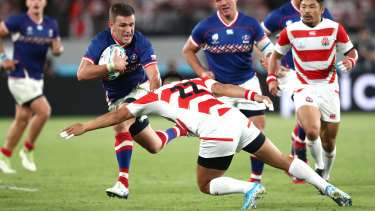 Tackled: Russia did not win a match at last year's Rugby World Cup in Japan.