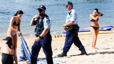 Police close down Balmoral Beach on Sunday.