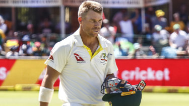 David Warner leaves the field after losing his wicket on the third day of the second Test against South Africa.