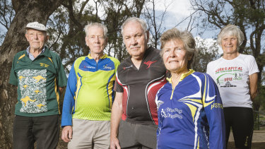 Canberra's population above the age of 65 is growing faster than most places. Jack Palmer, Eino Meuronen, Bob Mouatt, Ann Ingwersen, and Caroline Campbell before a walk up Mount Ainslie.