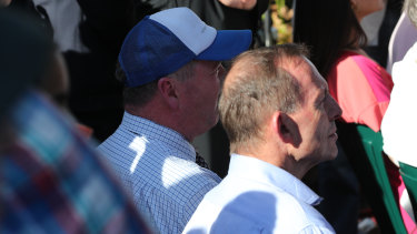 Former prime minister Tony Abbott, right, and former Nationals leader Barnaby Joyce  at the anti-abortion rally at Hyde Park.