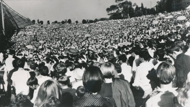 A record breaking crowd of over 200,000 gathered to watch The Seekers perform at the Sidney Myer Music Bowl in March, 1967.