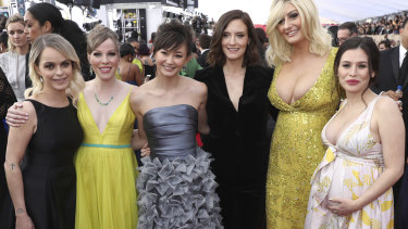 Yael Stone, far right, with her Orange is the New Black co-stars at the Screen Actors Guild Awards last year.