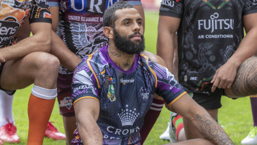 Pride: Josh Addo Carr in Melbourne's Indigenous jersey.