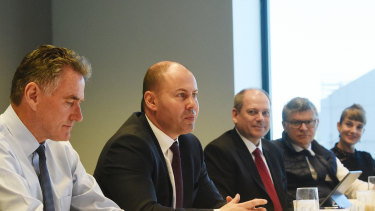 From left: Ross McEwan, CEO of NAB, Treasurer Josh Frydenberg, and Peter King,Westpac'sacting chief executive.