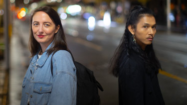 Scattered co-creator Kate Darrigan with the TikTok series' co-writer Adolfo Aranjuez in Melbourne on Friday.