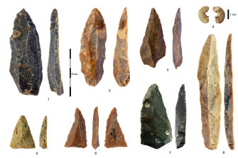 Stone artefacts from the Initial Upper Paleolithic discovered in the Bacho Kiro Cave in Bulgaria.