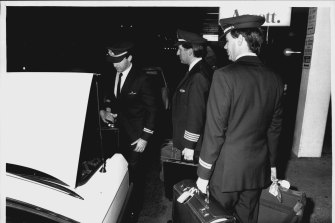 The last Ansett pilots leave after a strike is called in 1989.