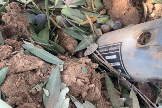 An unexploded bomb with Turkish language markings dropped by a drone during a strike close to the Syria-Turkey border.
