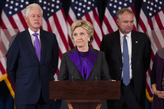 Hillary Clinton concedes the presidential election supported by her husband, former president Bill Clinton and her running mate Tim Kaine, in 2016.