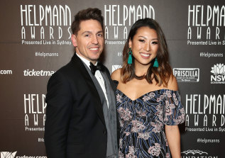 Michael Falzon and his wife, Jane, attend the 2018 Helpmann Awards.