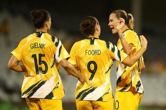 Emily van Egmond (right) looms as Australia's main strike weapon should they make the 2020 Olympics.