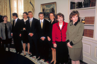 Albright's three daughters and other family members in attendance for her swearing-in ceremony as US secretary of state in 1997.