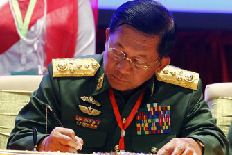 Myanmar's coup leader Min Aung Hlaing.